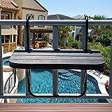 Sundale Outdoor Folding Deck Table Patio Garden Adjustable Balcony Hanging Railing Table, Black