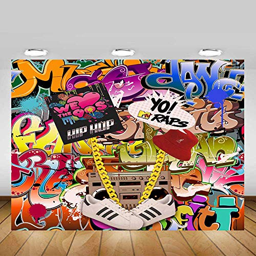 Fanghui 9x6FT Hip Pop 80's 90's Backdrop Graffiti Music Themed Party Background 80s 90s Style Banner Decoration Photo Booth -