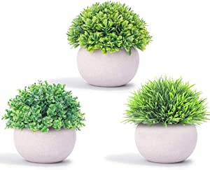 HiSweetHome Mini Artificial Potted Plants, Realistic Fake Plastic Plants with Pulp Pots for Home and Office Decoration, Faux Plants Set of 3