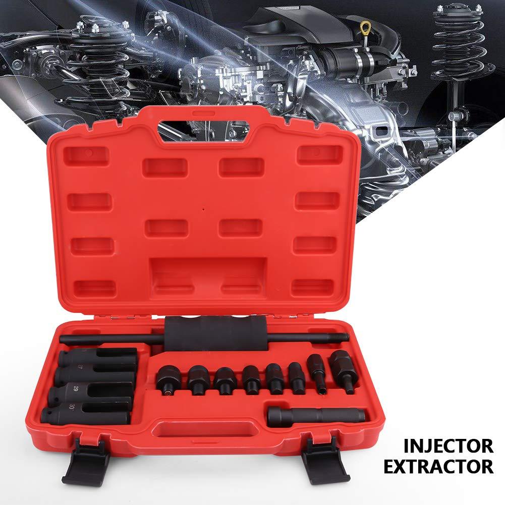 Extractor de inyectores juego de herramientas de inyecci/ón de 14 piezas de extractor de inyector de carril com/ún con una caja de almacenamiento roja