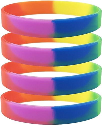 Rinspecyre 6 Unidades Gay Pride Pulseras Arco Iris LGBT Pulsera de Silicona Deporte Goma Pulseras Equipo Fiesta Joyas: Amazon.es: Joyería