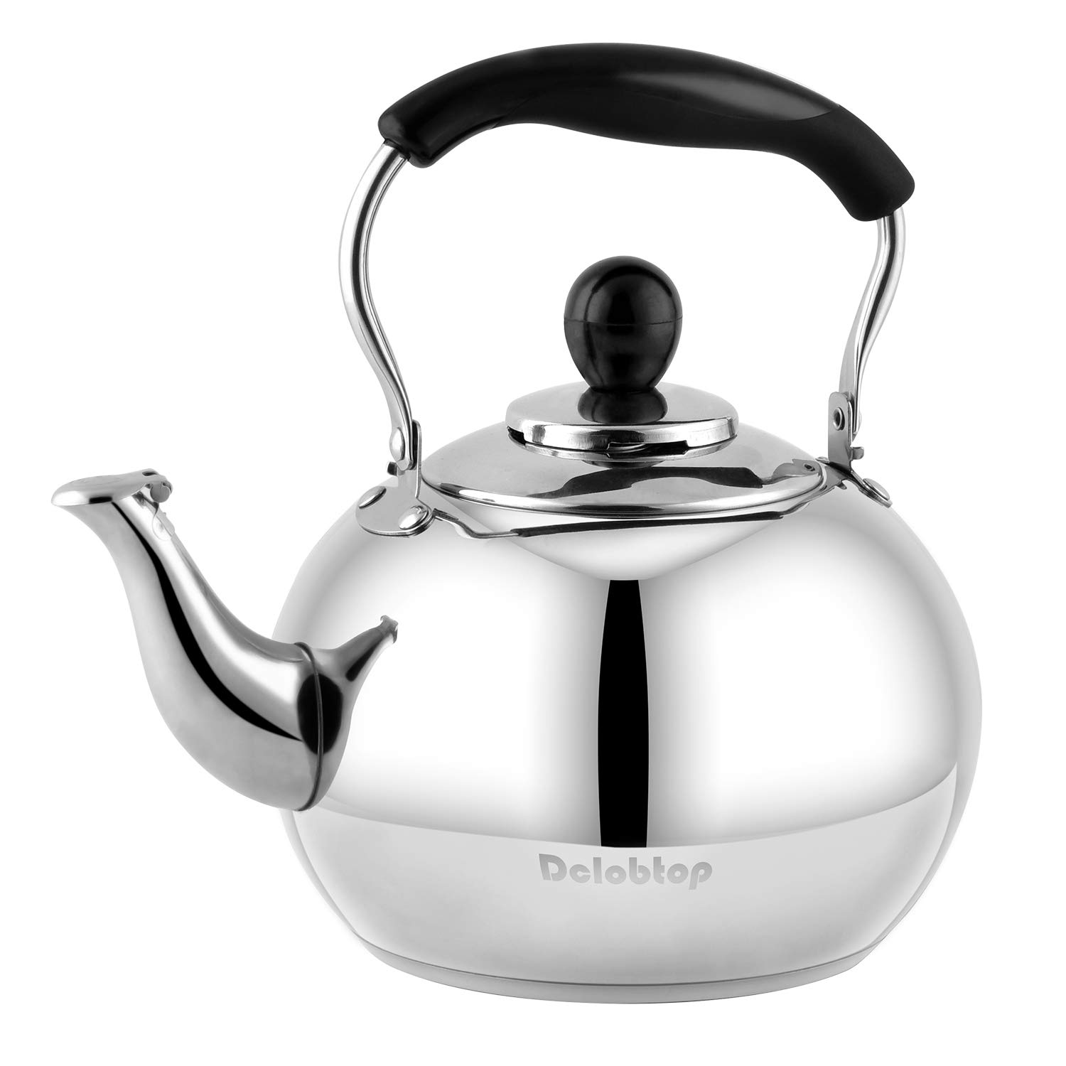 Stove Top Whistling Tea Kettle 2.5 Quart Classic teapot appearance Culinary Grade Stainless Steel Teapot Composite process bottom by DclobTop
