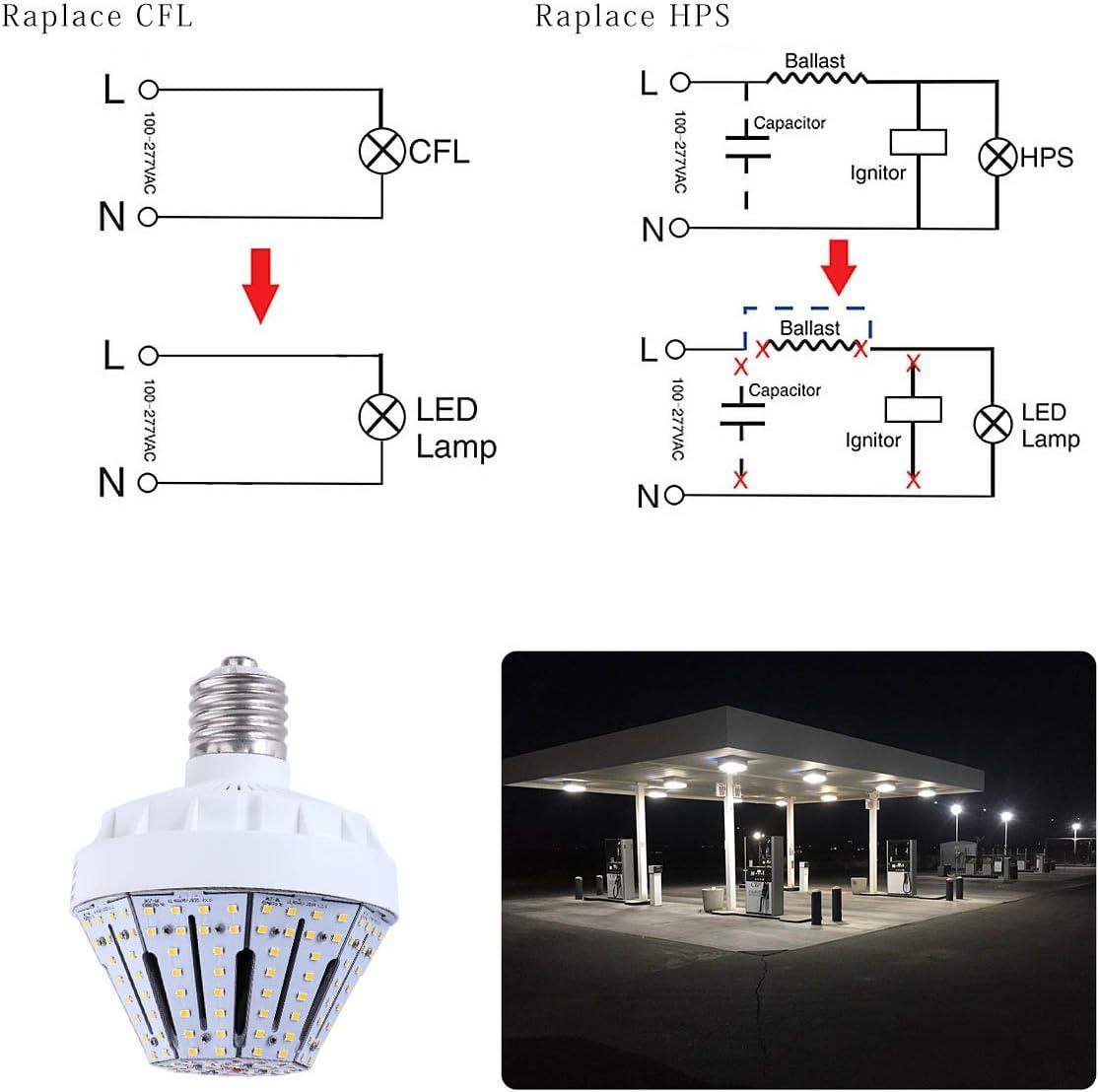 50W Led Corn Light Bulb 4000K UL-Listed /& DLC Mogul Base E39 Led Bulb 7600 Lumens Replacement for 300W-500W Metal Halide//HID//CFL//HPS in LED Street Lighting High Bay Garage Lights Warehouse Lighting