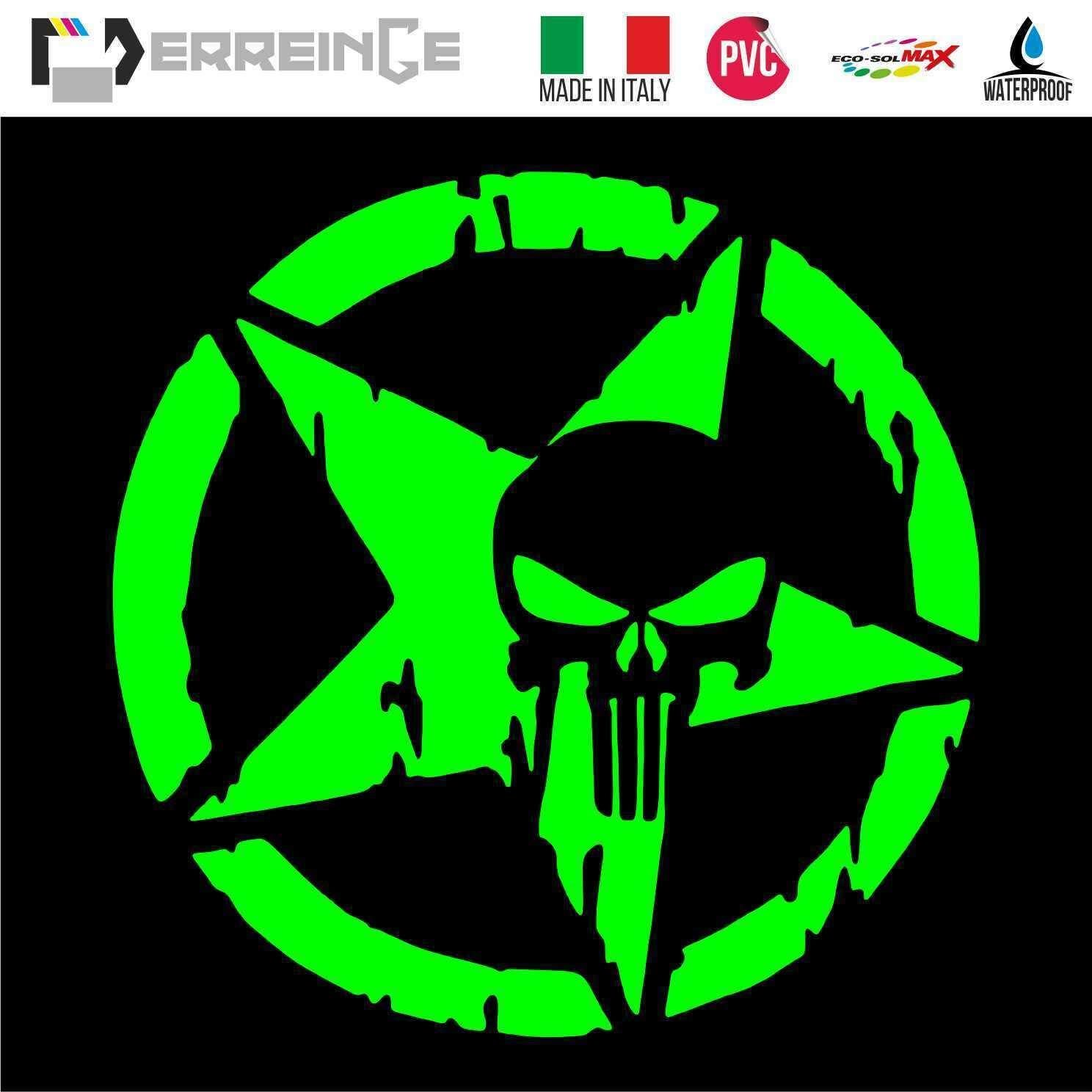 cm 20 ERREINGE Sticker PUNISHER /ÉTOILE MILITAIRE ARMY ROUGE Autocollant pr/éd/écoup/é in PVC pour D/écalcomanie Muraux Voiture Moto Casque Campeur Portable Scooter