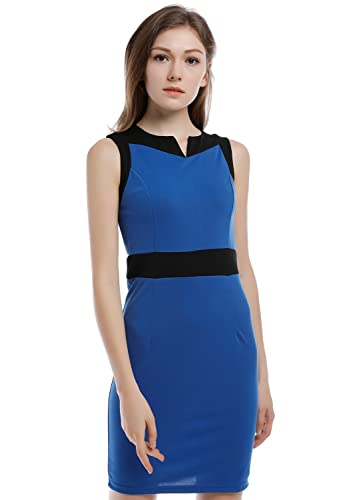 Blooming Jelly Women's Elegant Sleeveless V Neck Colorblock Wear to Work Business Sheath Dresses