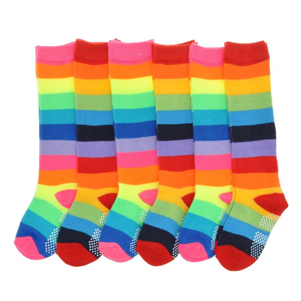Angelina Cotton Non-Skid Rainbow Striped Knee-High Socks (6-Pairs), 2540_1-3