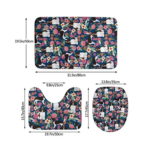 yinchuyindianzi Bath Mat English Springer Spaniel Floral 3 PCS Bath Mat Bathroom Kitchen Carpet Doormats Bath Rug Set 2