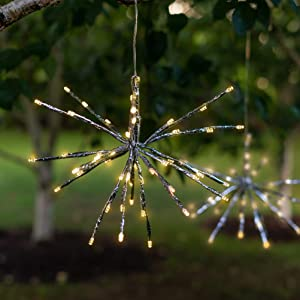 Solar LED Hanging Snowflake Light - Starburst Style Outdoor Light, Flexible Branches, for Garden, Patio, Outdoor Living Area - 48 LEDs