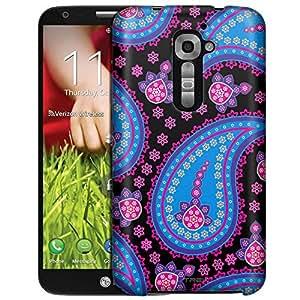 LG Verizon G2 Case, Slim Fit Snap On Cover by Trek Fun Paisley Blue Pink on Black Case