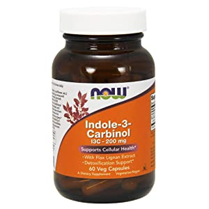 Now Supplements, Indole-3-Carbinol 200 mg with Flax Lignan Extract, 60 Veg Capsules
