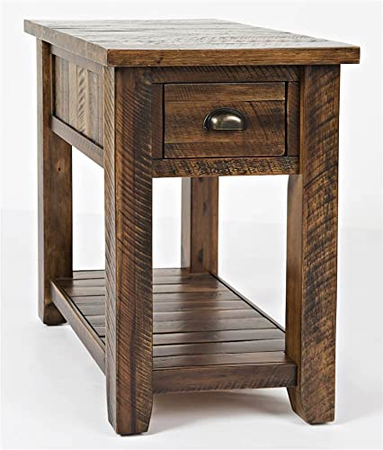 Jofran Artisan s Craft Farmhouse Solid Acacia Chairside End Table, 16 L x 24 W x 24 H, Dakota Oak