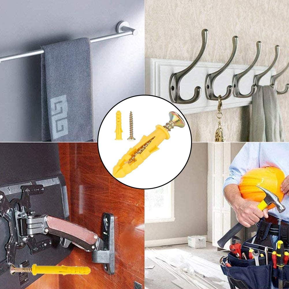 50Pcs M8 x 40mm Masonry Brick Wall Fixing Screw Bolts with Wall Plug Self-Tapping Screws Fastener Kits