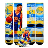 Golden State Warriors Youth Size Pro Stripe NBA Crew Kids Socks (4-8 YRS) 1 Pair - Stephen Curry #30