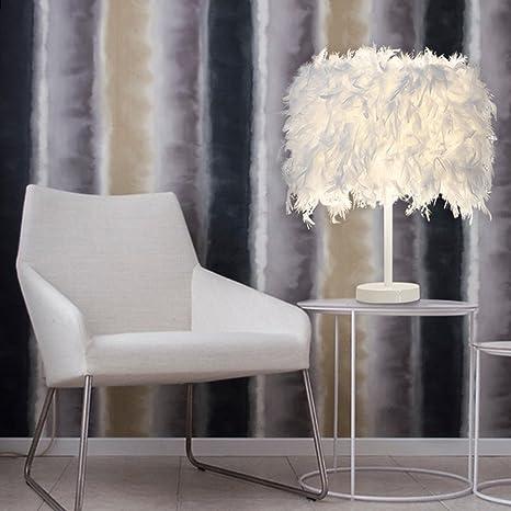 ELINKUME Plumas Lámparas de mesa y mesilla de noche, elegante pantalla de plumas y cuerpo de metal, interruptor de botón del sostenedor de E27, ...
