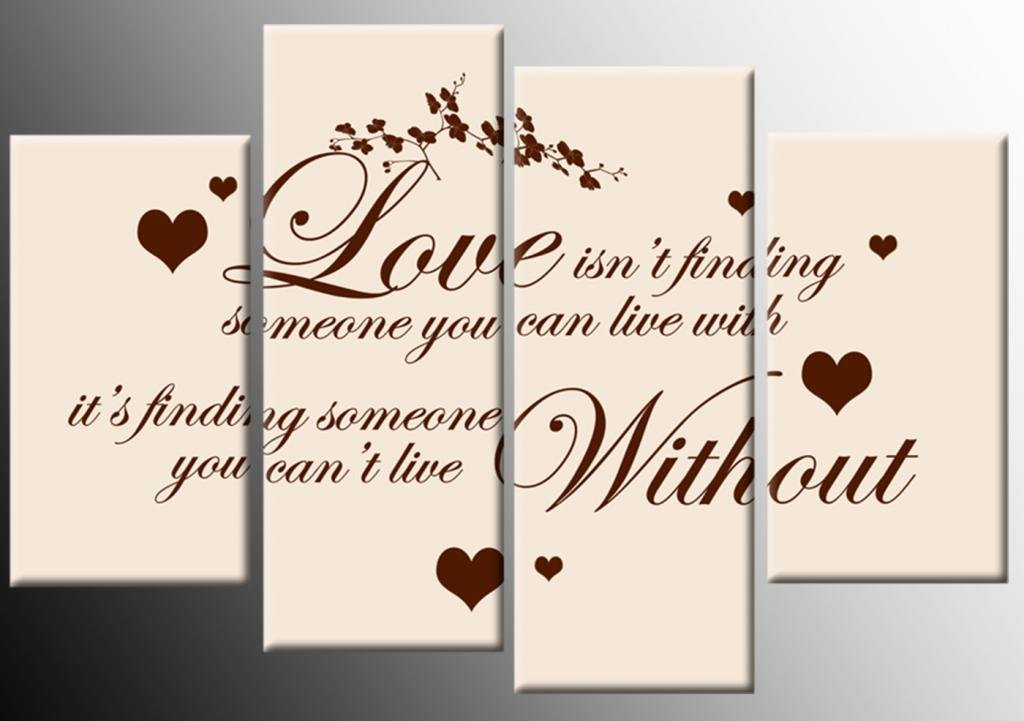 Love Quote Canvas Cream Brown 4 Panel Canvas 100cm Amazon Co Uk