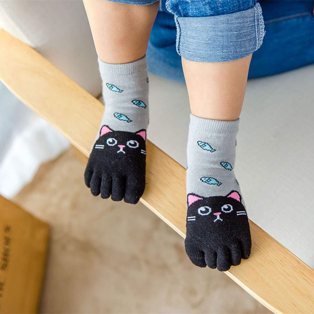 Pack of 5 Creative ingenuity Kids Five-finger Cartoon Animal Socks Four Seasons Toe socks for 3-12 years old Boys Girls