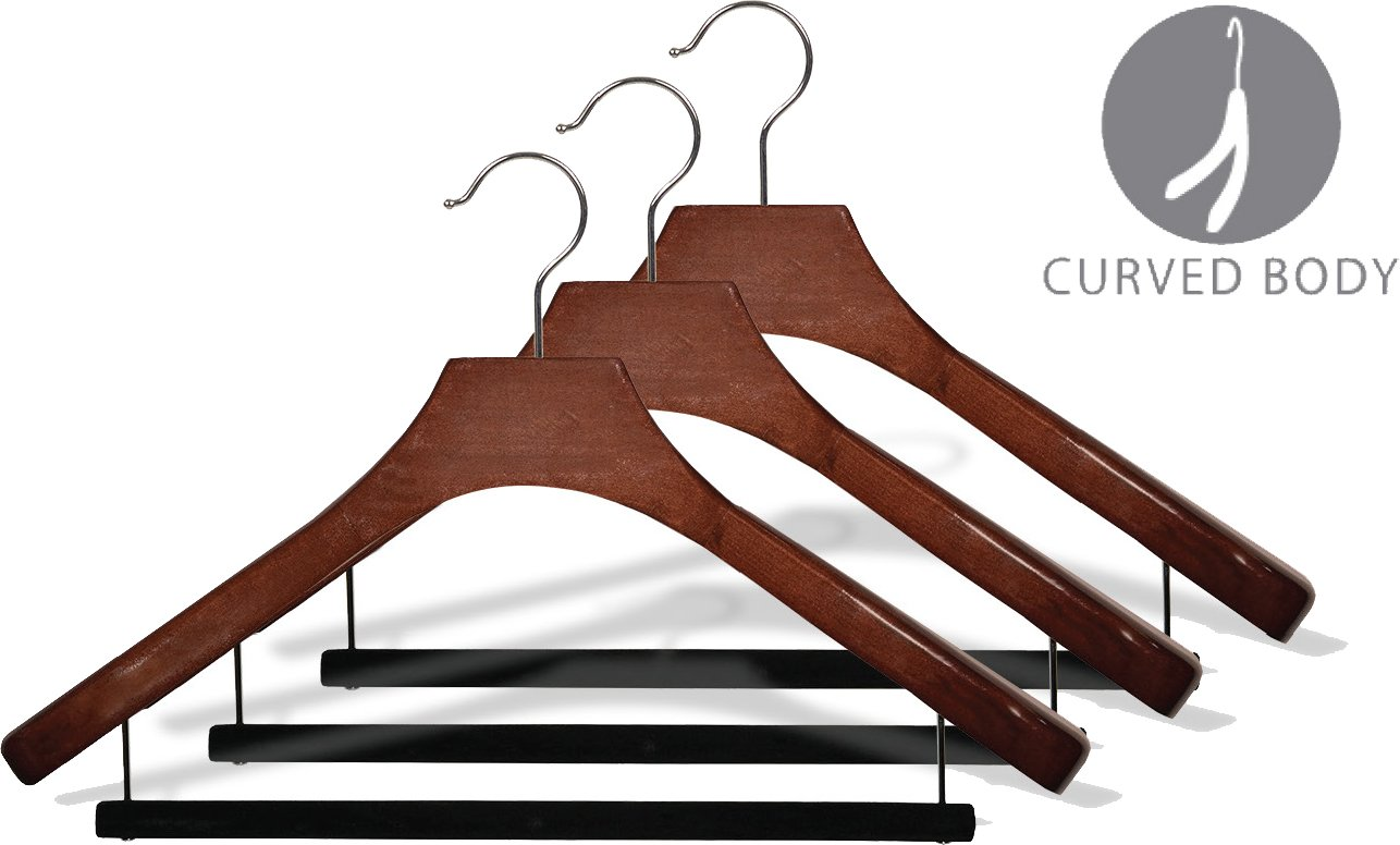 Deluxe Wooden Suit Hanger with Non-Slip Bar and Walnut Finish Box of 6 by The Great American Hanger Company 100225-006