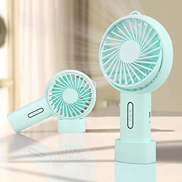 Mini Handheld Fan Portable Small Personal Fan Rechargeable USB with 3 Speeds Fan for Home Office Travel Outdoor or Indoor Blue