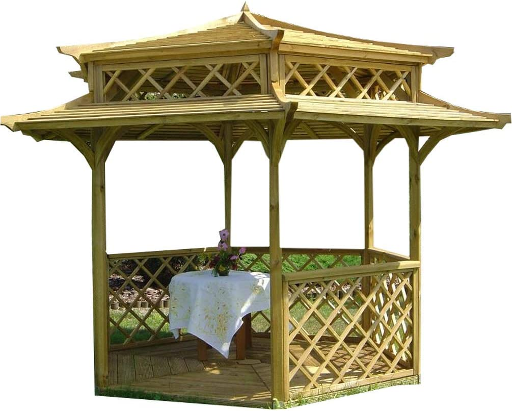 Cenador de madera para jardín, pagoda japonesa hexagonal, diámetro 2,5 m