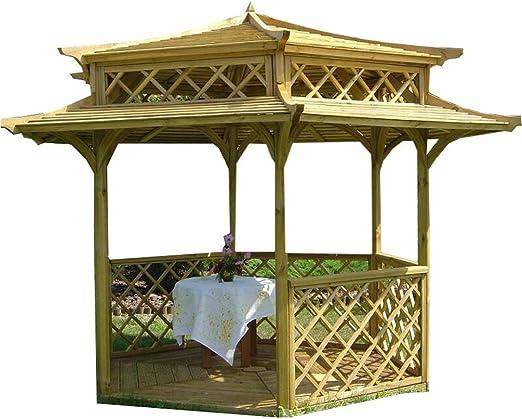 Stan-Wood PAGODE - Pabellón de madera para jardín (tejado de madera, 2, 5 x 2, 5 m): Amazon.es: Jardín