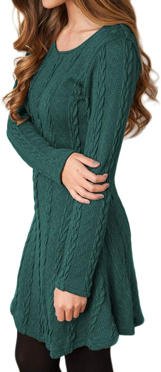 YMING Women/'s Fall Sweater Mini Dress Knitted Pullover Sweater Jumper Grey XL
