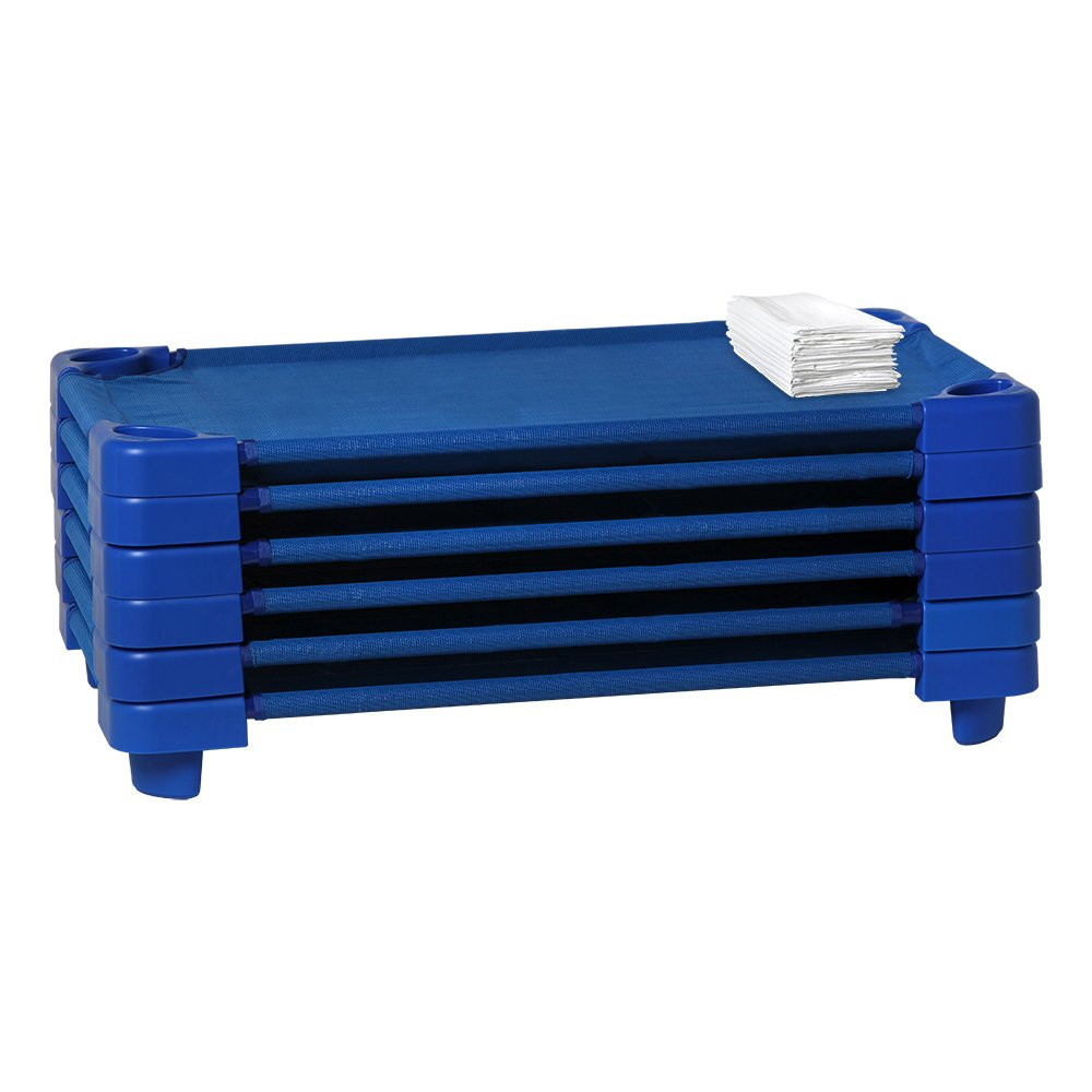 Sprogs Stackable Daycare Cot Standard w/ Sheet, 52'' W x 23'' D, Blue Cot/White Sheet, SPG-021-5-CS (Pack of 6) by Sprogs