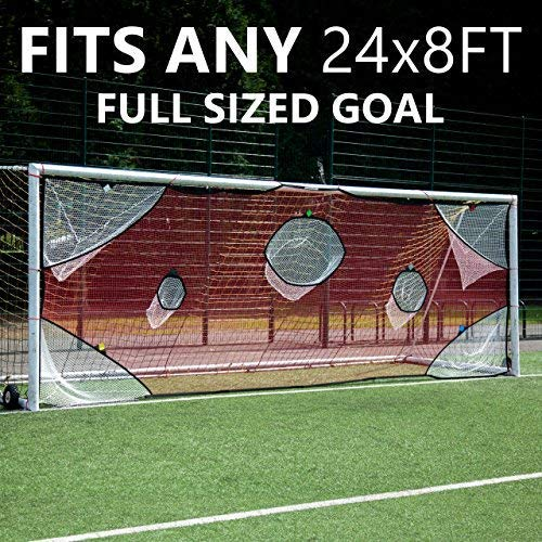 QuickPlay PRO Soccer Goal Target Nets with 7 Scoring Zones - Practice Shooting & Goal Shots.Soccer Goal Frame not Included. (24x8' - Full Size) (Size Soccer Full Net)