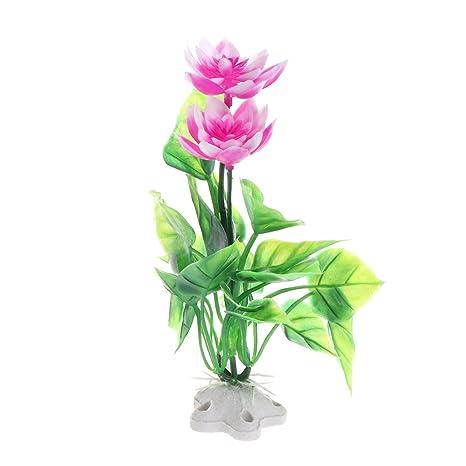 CADANIA 1 Pieza Simulación Lotus Plantas acuáticas Artificiales Adhesivo Acuario de Acuario Flor CT59 - Blanco