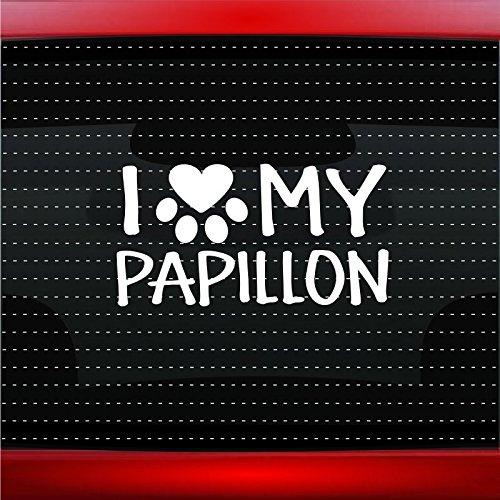 I Love My Papillon - Dog Paw Heart Pet Family Car Sticker Truck Window Vinyl Decal COLOR: LIGHT GRAY