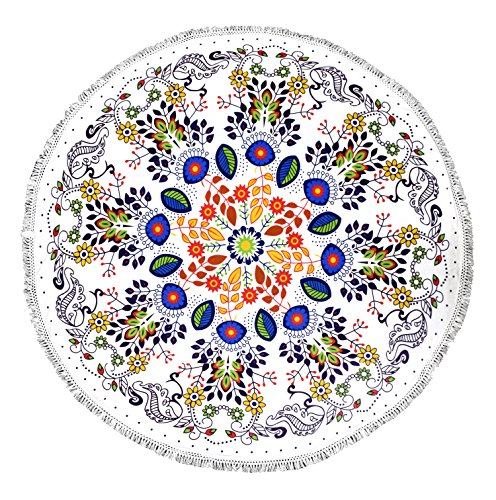 Peach Couture Roundie Beach Towel Yoga Mats Terry Cotton with Fringe Tassels - Many Designs & Colors White Floral