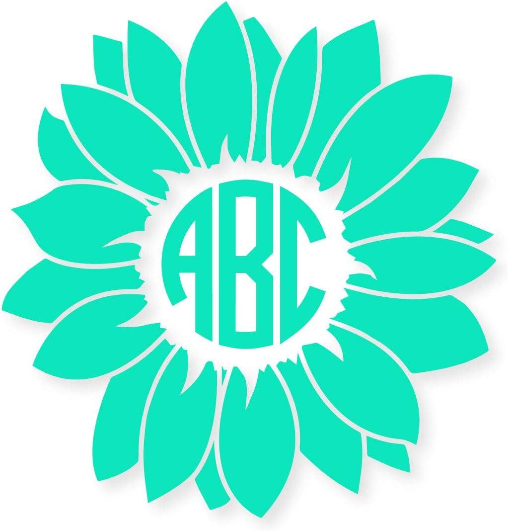 Eggleston Design Co Aufkleber Personalisierbar Kreisförmig Blumen Monogramm Initialen Kompatibel Mit Yeti Tassen Laptops Bechern Autoscheiben Glitzer Erhältlich Küche Haushalt