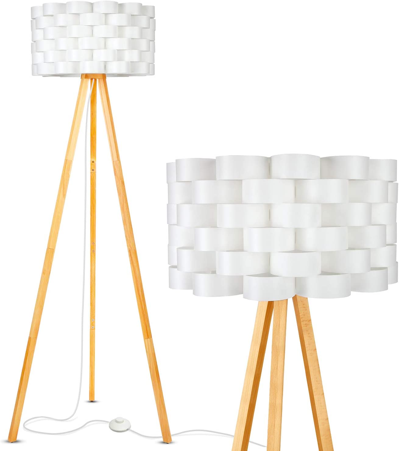 Brightech Bijou LED Tripod Floor Lamp Contemporary Design for Modern Living Rooms – Soft, Ambient Lighting, Tall Standing Easel Survey Lamp for Bedroom, Family Room, or Office – Natural Wood Color