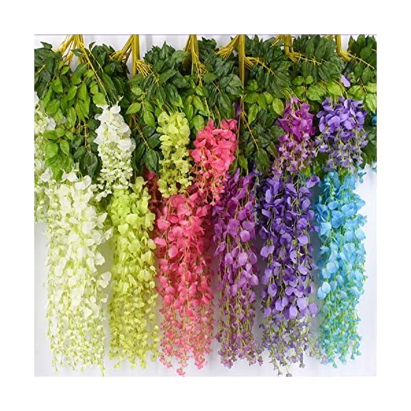 Aimyoo 12 Piece 3.6 Feet Romantic Classic Artificial Fake Wisteria Vine Ratta Silk Hanging Flower for Home Party Wedding Decor (Multicolored) (Multicolored)