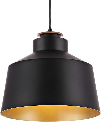 WINGBO Black Industrial 1 Bulb Pendant Light Farmhouse Metal Hanging Barn Pendant Lighting