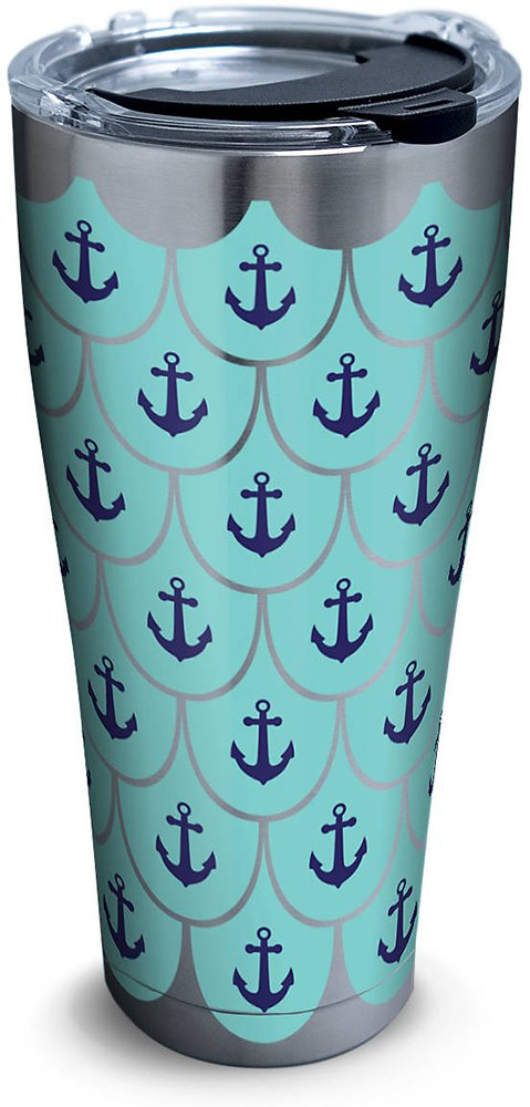 Tervis 1261372 Anchors & Scallops Pattern Stainless Steel Tumbler with Clear and Black Hammer Lid 30oz, Silver