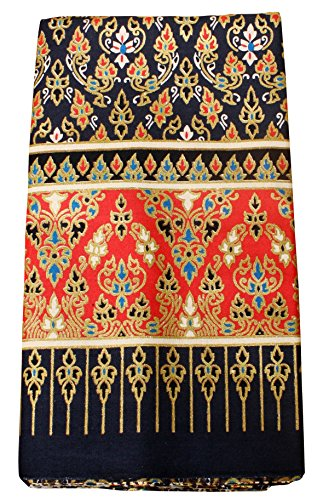 RaanPahMuang Thick Bold Batik Cotton Fabric in Traditional Thai Print, Black Red