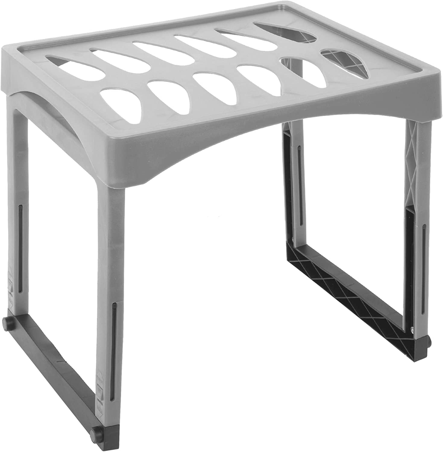 Office Works Extendable Height Locker Shelf with Legs for Gym, School, and Office, 10 x 15.25 inches, Grey