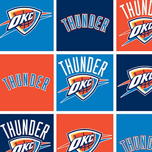 - Fleece Oklahoma City Thunder Boxes NBA Basketball Sports Team Fleece Fabric Print by Yard (A609.31)