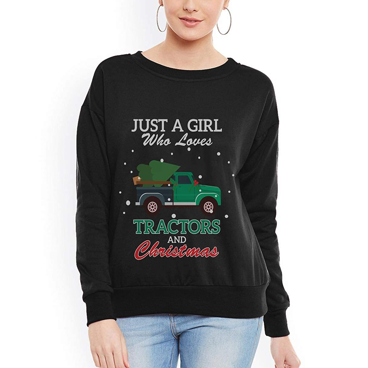 Just A Girl Who Loves Tractors and Christmas Funny Farm Girl Women Sweatshirt tee