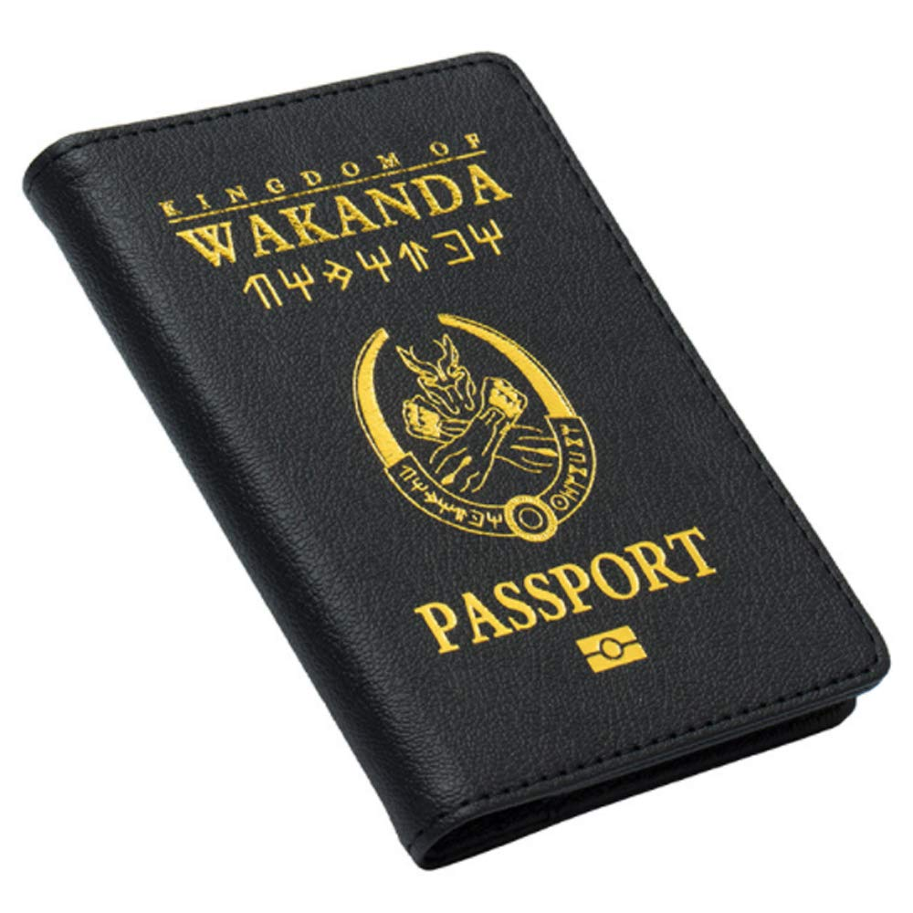Passport Cover Kingdom of Wakanda Printed Passport Holder Leatherette Black Panther Passport Case with Multi Card and Ticket Slots