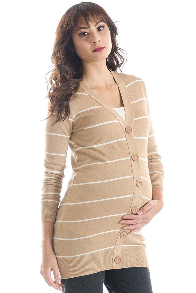 Lilac Button Down Maternity Cardigan Sweater - Tan Stripe - Medium