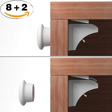 UFelice - Cierres magnéticos para armario, 8 cerraduras + 2 llaves, cerraduras de seguridad