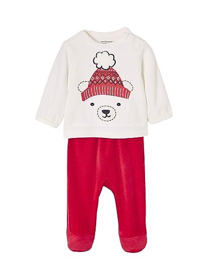 44f43d6a5d6f9 VERTBAUDET Pyjama bébé velours épaule pressionnée Ivoire 1M - 54CM ...
