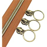 (anti-brass brown) - YaHoGa 5 Antique Brass Metallic Nylon Coil Zippers By The Yard Bulk 10 Yards Brown Tape With 20pcs…