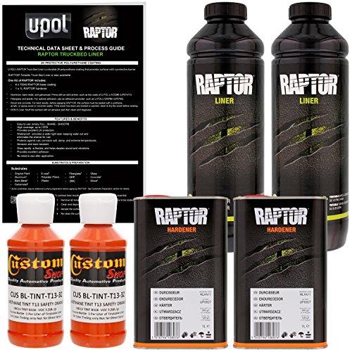 U-POL Raptor Safety Orange Urethane Spray-On Truck Bed Liner & Texture Coating, 2 Liters