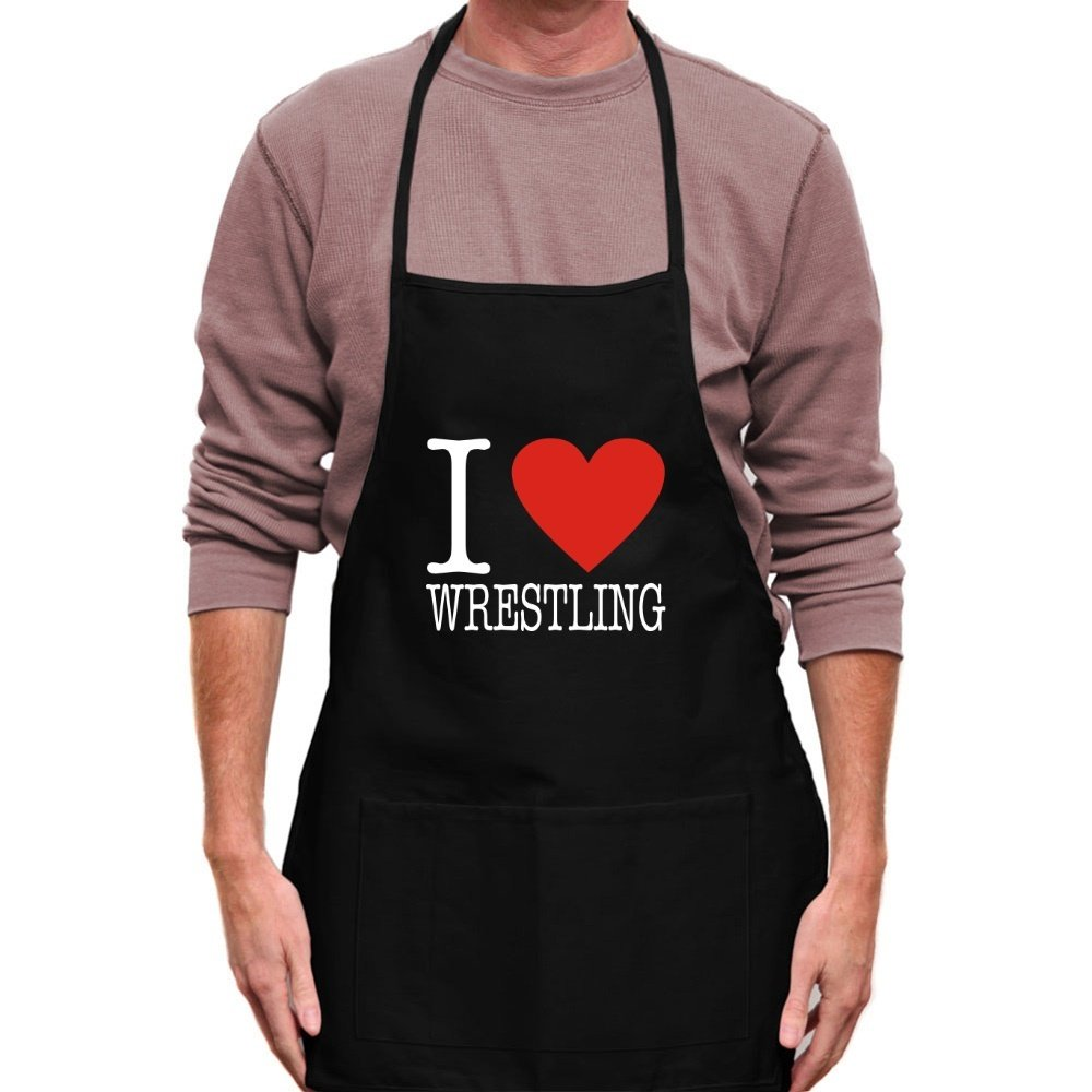 Teeburon I LOVE Wrestling CLASSIC Apron by Teeburon