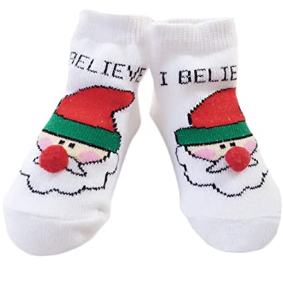 Baby Christmas Socks Warm Cute Cotton Infant Xmas Socks,2 Pairs (Small (0-12 Month), Santa Claus)