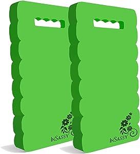 """InSassy Garden Kneeler Pad - Kneeling Mat for Gardening Baby Bath Yoga Exercise & Prayer - High Density Foam Knee Pad for Work (18"""" x 8 1/4"""" x 4/5"""" - 2 Pack, Green)"""