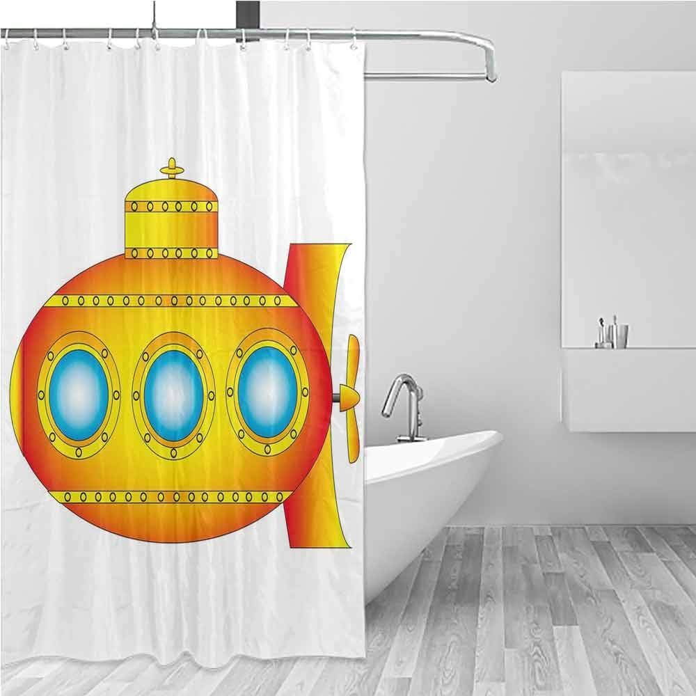 BE.SUN Shower Curtain,Yellow Submarine,Fabric Shower Curtain Bathroom,W72x84L Orange and Yellow by BE.SUN