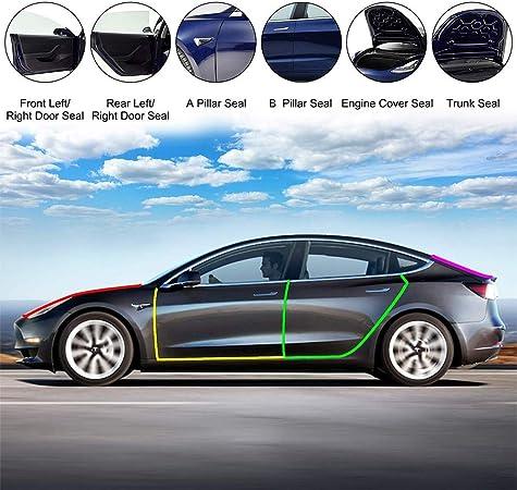 Selbstklebende Gummi-Wetterstreifen Rauschunterdr/ückung Links und rechts Set GOLOHO T/ürdichtungs-Set f/ür Tesla Modell 3
